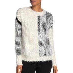 Bobeau Eyelash Colorblock Pullover Sweater MED